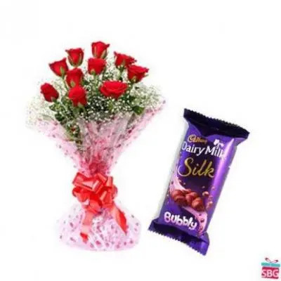 Red Roses With Cadbury Silk - Bubbly