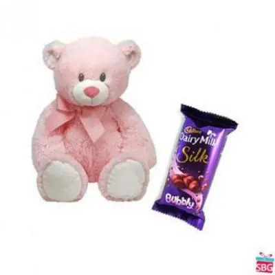 Teddy With Cadbury Silk Bubbly