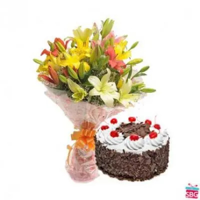 Mix Lilies With Black Forest Cake