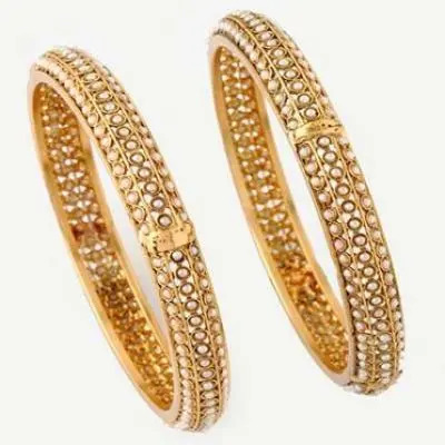 Gold and Pearl Bangles