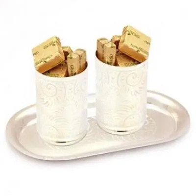 Silver Glasses  Set with Sugarfree Chocolates