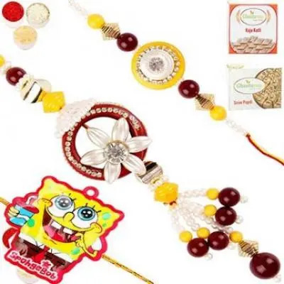 Set of 3 Maroon and Yellow Bhaiya Bhabhi Rakhi and Spongebob Rakhi with 200 gms of Kaju katli and  200 gms of Soan Papdi