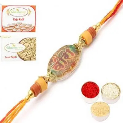 Set of 2 Colourful wishes for you MY VEERA Rakhi with 200 gms of Kaju katli and 200 gms of Soan Papdi