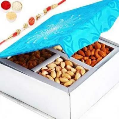 Blue 4 Dryfruit Box with Om Swastik Rakhi