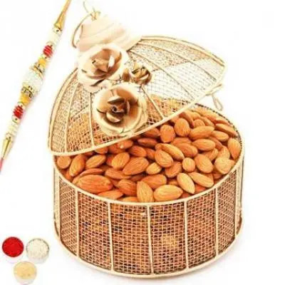 Golden Cage with with Pearl Rakhi and Almonds