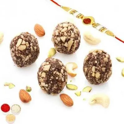 Chocolate Kaju Laddoo with Oval Rudraksh Rakhi