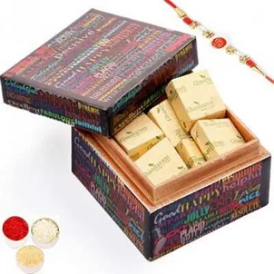 Ideal Brother Chocolate Box with Om Swastik Rakhi