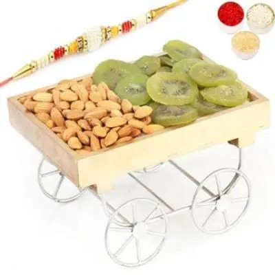 Almonds Kiwi Cart with Pearl Rakhi