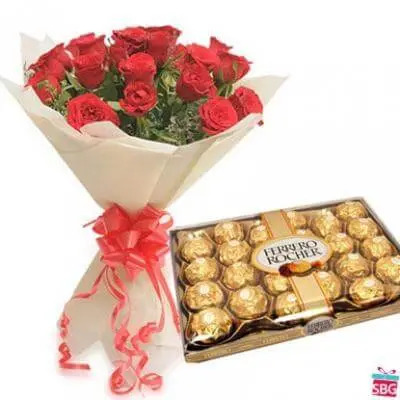 Ferrero Rocher With Red Roses