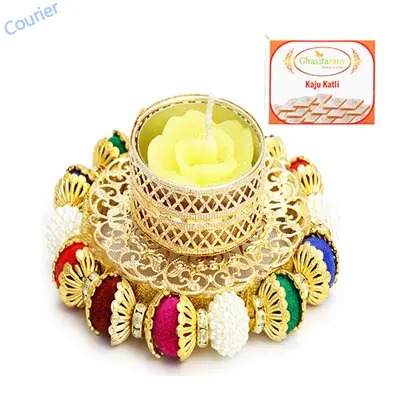 Coloured Balls  T-Lite with  Kaju Katli
