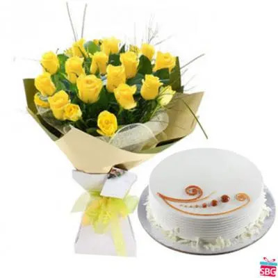Yellow Roses With Vanilla cake