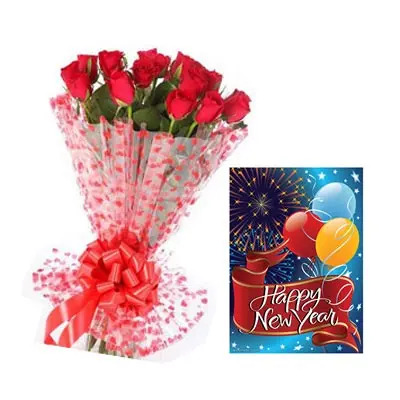 new year card with flowers