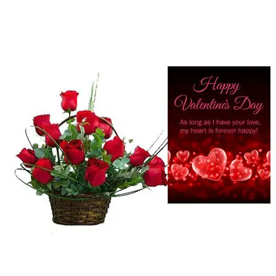 Red Roses Basket With Valentine Card