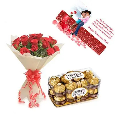 Roses, Ferrero Rocher With Valentine Card
