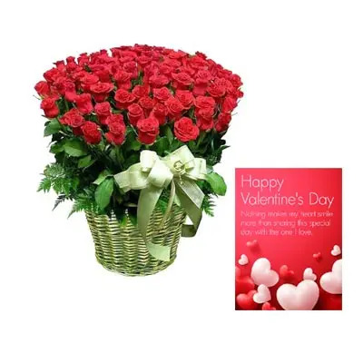 Red Roses Big Basket With Valentine Card