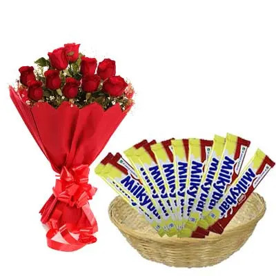 Nestle Milky Bar Hamper With Roses