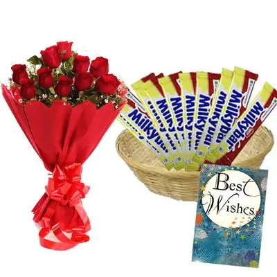 Nestle Milky Bar Hamper With Card and Roses