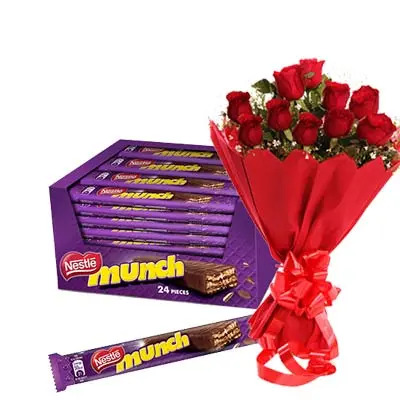 Munch Chocolate Hamper With Roses