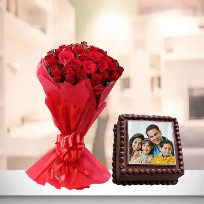 Chocolate Truffle Photo Cake With Roses