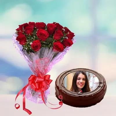 Chocolate Truffle Photo Cake Round With Roses