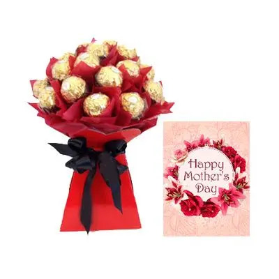 16 PCs Ferrero Rocher Bouquet With Mothers Day Card