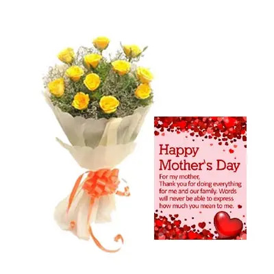 Yellow Roses Bouquet With Mothers Day Card