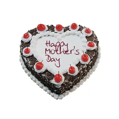 Happy Mothers Day Heart Shape Black Forest Cake