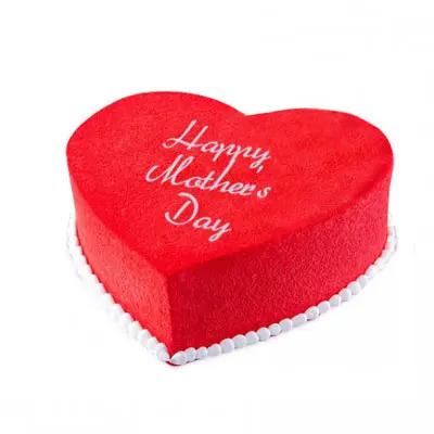Happy Mothers Day Heart Shape Red Velvet Cake