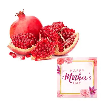 Fresh Pomegranates With Mothers Day Card