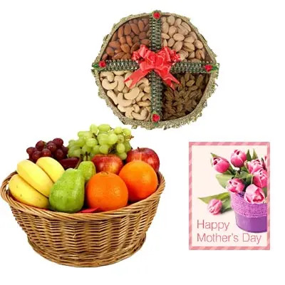 Fresh Fruits Basket & Mixed Dry Fruits with Mothers Day Card