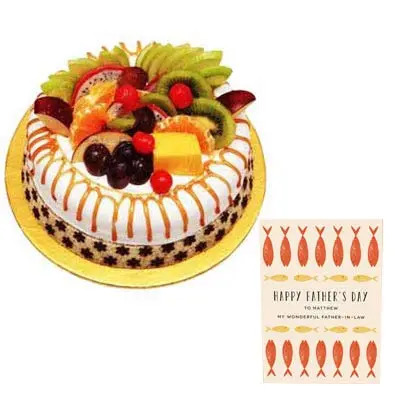 Fathers Day Fruit Cake with Fathers Day Card