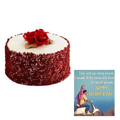Fathers Red Velvet Cake Cake with Fathers Day Card