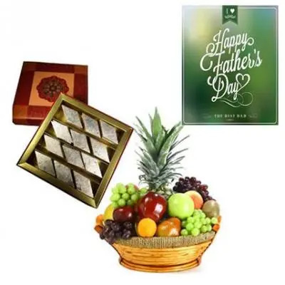 Fresh Fruits Basket and Kaju Burfi With Fathers Day Greeting
