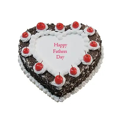 Happy Fathers Day Heart Shape Black Forest Cake