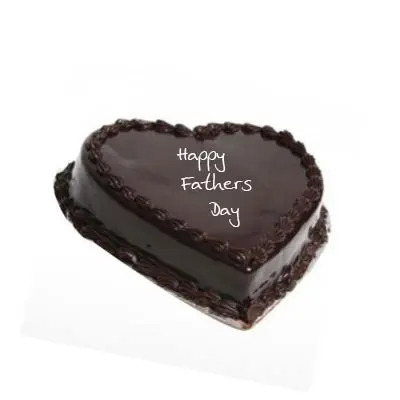 Happy Fathers Day Heart Shape Chocolate Cake