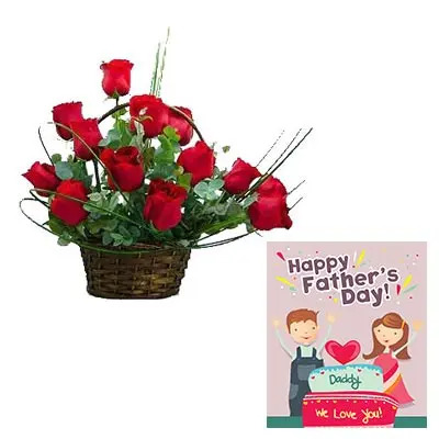 Red Roses Basket With Fathers Day Card
