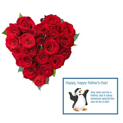 Red Roses Heart With Fathers Day Greeting Card