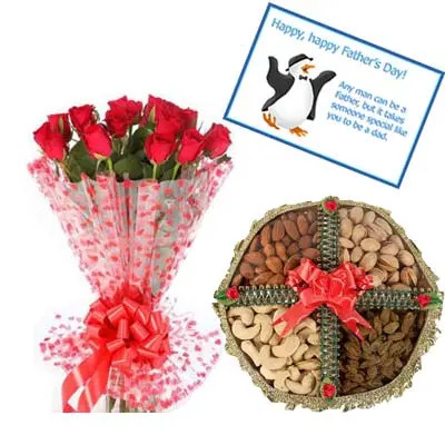 Roses and Dry Fruits With Fathers Day Greeting