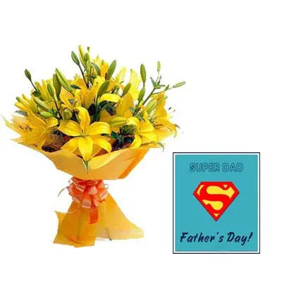 Yellow Lily Bouquet with Fathers Day Card
