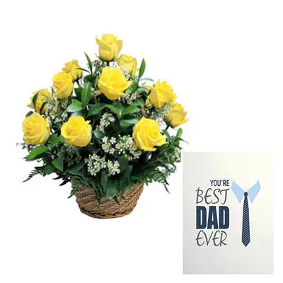 Yellow Roses Basket With Fathers Day Card