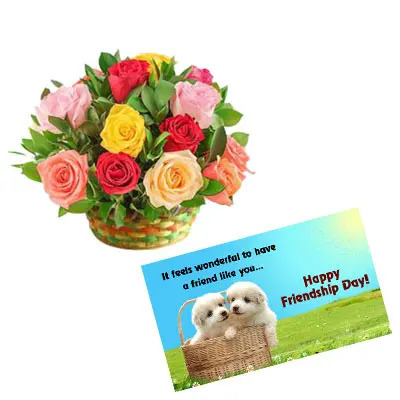 Mixed Roses Basket with Card