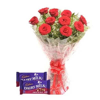 Red Roses With Cadbury Dairy  Milk Fruit Nut