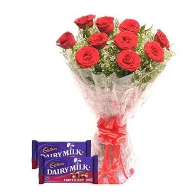 Red Roses With Cadbury Dairy  Milk Fruit Nut