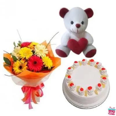 Gerbera, Teddy, Cake