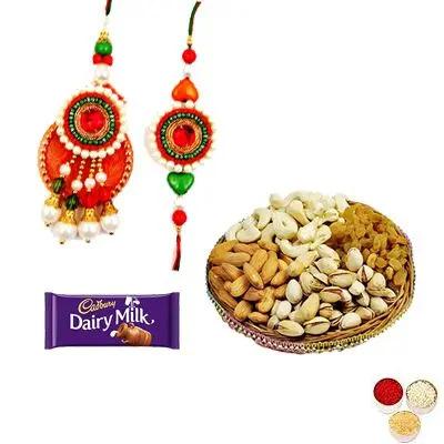 Lumba Rakhi with Mixed Dry Fruits and Chocolate