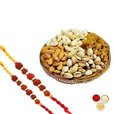 Rudraksh Rakhi Set with Mixed Dry Fruits