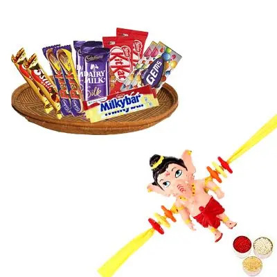 Ganesha Rakhi with Mixed Chocolates Hamper