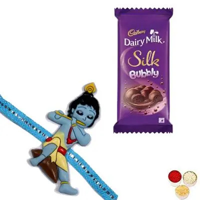 Krishna Kid Rakhi with Cadbury Silk Bubbly