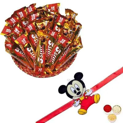 Mickey Mouse Rakhi with 5 Star Chocolate Hamper