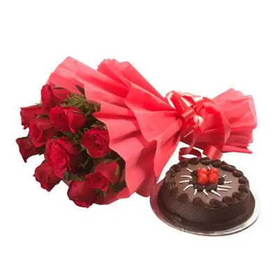 Eggless Chocolate Cake with 12 Red Roses Bouquet